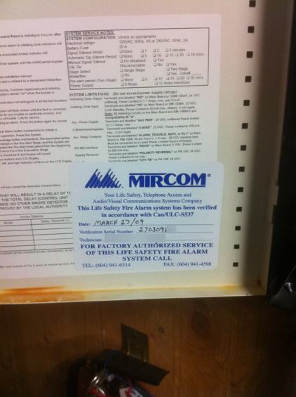 Mircom Verification Label (CAN/ULC-S537 Test Record)